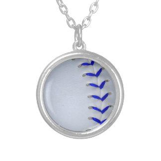 青は野球/ソフトボールをステッチします シルバープレートネックレス