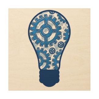青は電球を連動させます ウッドウォールアート