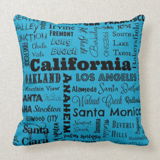 青または黒のカリフォルニア都市タイポグラフィの枕 クッション