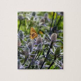 青アザミのFritillaryの蝶 ジグソーパズル