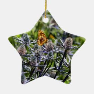 青アザミのFritillaryの蝶 陶器製星型オーナメント