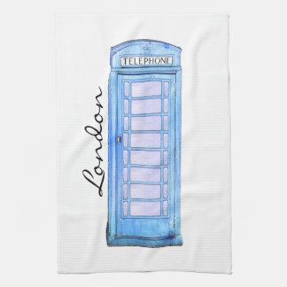 青イギリスの公衆電話ボックス-茶タオル タオル