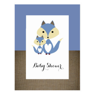 青キツネのバーラップのベビーシャワーの招待状 ポストカード