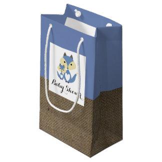 青キツネのバーラップのベビーシャワー スモールペーパーバッグ
