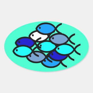 青キリスト教の魚の記号の学校- 楕円形シール