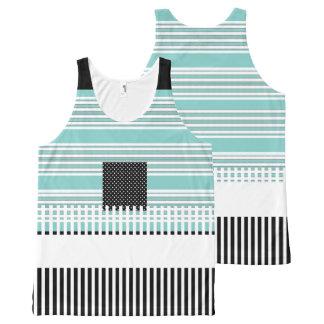 青ストライプの--黒夏おもしろい女性タンクトップ オールオーバープリントタンクトップ