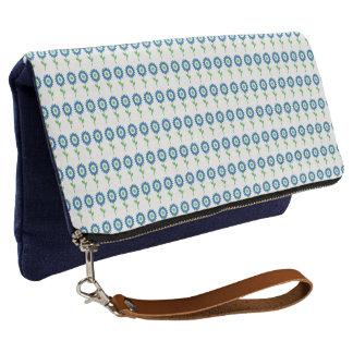 青ヒマワリ花柄バッグ数々の色 クラッチバッグ