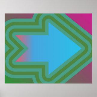 青上の右の緑へのポップアートの矢 ポスター