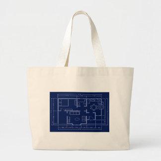 青写真-家の計画 ラージトートバッグ