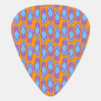 青及びオレンジのハワイのビーチサンダル ギターピック