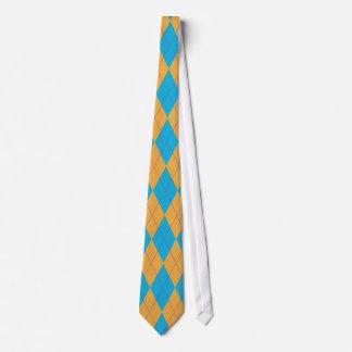 青及びオレンジアーガイル ネクタイ