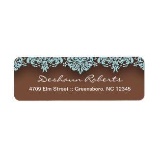 青及びチョコレートダマスク織の宛名ラベル ラベル