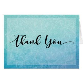 青及びティール(緑がかった色)の水彩画の曼荼羅はノート、4感謝していしています カード