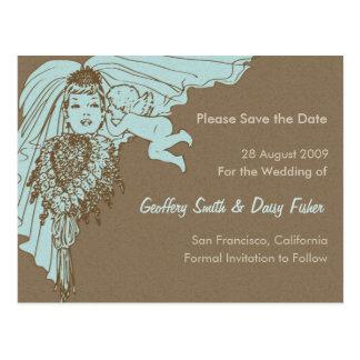 青及びブラウンのヴィンテージの花嫁の保存日付の郵便はがき ポストカード