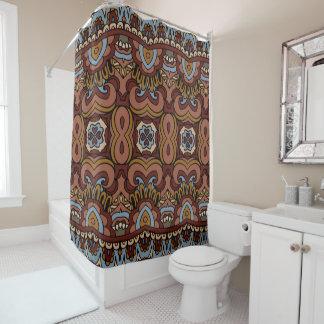 青及びブラウンBohoの幾何学的なパターン シャワーカーテン