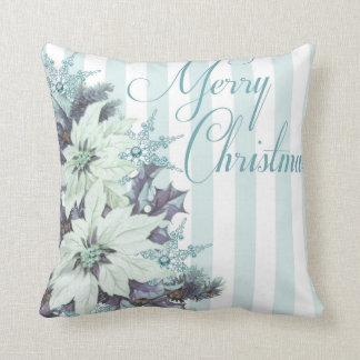 青及びホワイトクリスマスの装飾用クッション クッション