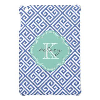 青及び水のギリシャ人の鍵のカスタムのモノグラム iPad MINI カバー