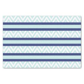 青及び海軍ストライプのシェブロン真新しいパターン 薄葉紙