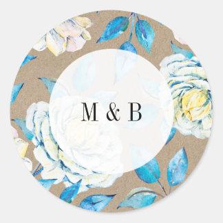 青及び白いクラフトのばら色の結婚式招待状のステッカー ラウンドシール