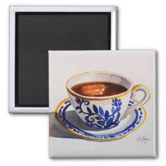 青及び白いデルフトの中国のティーカップの磁石 マグネット