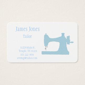青及び白いミシンのテーラー名刺 名刺