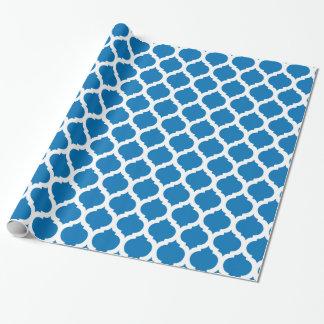 青及び白いモロッコパターンを眩ますこと ラッピングペーパー