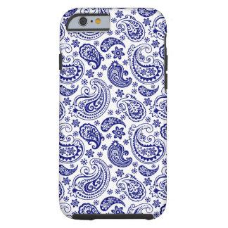 青及び白いレトロのペイズリーのハムパターン ケース