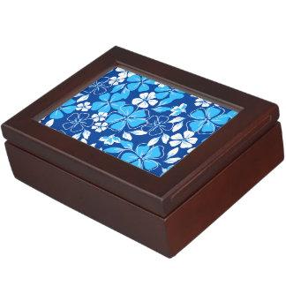 青及び白い花 ジュエリーボックス