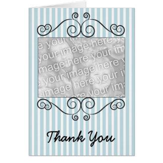 青及び白くストライプのなヴィンテージの写真のサンキューカード カード