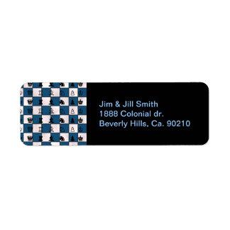 青及び白によって大理石模様をつけられるチェス盤及び部分 ラベル