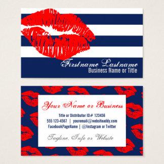 青及び白のストライプのカスタムの名刺の赤い唇 名刺
