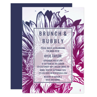 青及び紫色のグラデーションなヒマワリのブランチおよび快活 カード