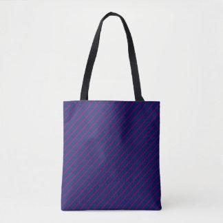青及び紫色のストライプの全にプリントのトートバック トートバッグ