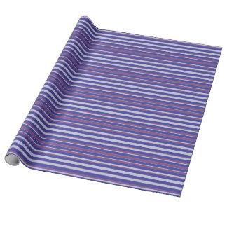 青及び紫色のストライプ ラッピングペーパー