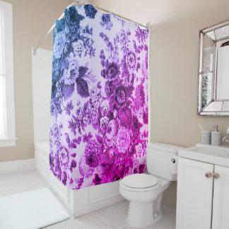 青及び紫色のヴィンテージ花のToile No.3 シャワーカーテン