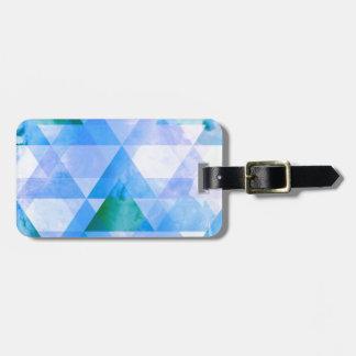 青及び紫色の三角形の幾何学的設計 ラゲッジタグ