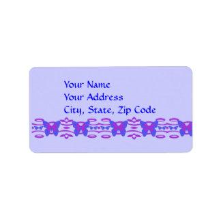 青及び紫色の住所シールの蝶 ラベル