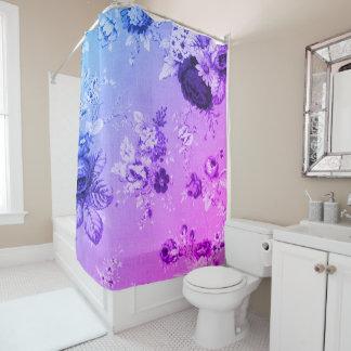 青及び紫色の植物の花のToile No.4 シャワーカーテン