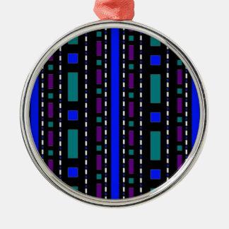 青及び紫色の点及びダッシュ メタルオーナメント