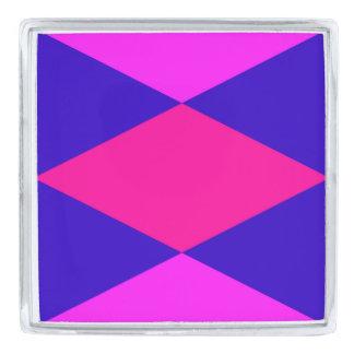 青及び紫色の~のダイヤモンドパターン シルバー ラペルピン
