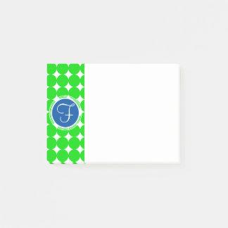 青及び緑の水玉模様のモノグラム ポストイット