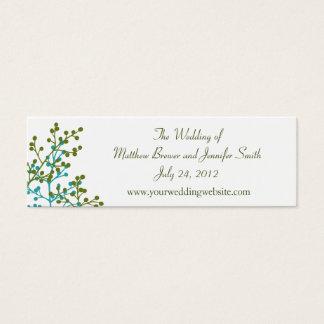 青及び緑の結婚式のウェブサイトの情報カード スキニー名刺
