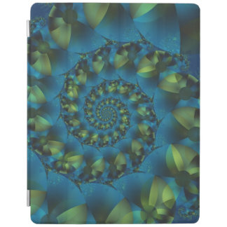 青及び緑の螺線形のフラクタルのiPad 2/3/4カバー iPadスマートカバー
