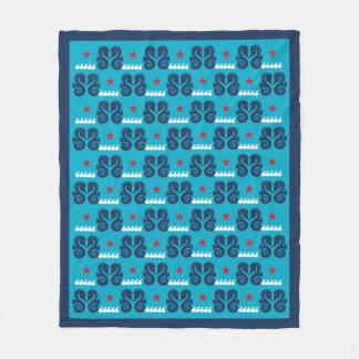 青及び赤いタツノオトシゴの航海のな毛布 フリースブランケット