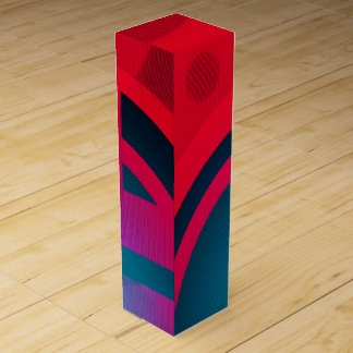 青及び赤の抽象的なワイン用化粧箱 ワインギフトボックス