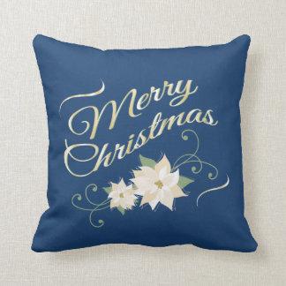 青及び金ゴールドのメリークリスマス及び白いポインセチア クッション