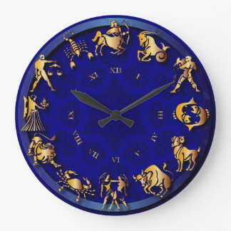 青及び金ゴールドの光輝の(占星術の)十二宮図の時計- #2 ラージ壁時計