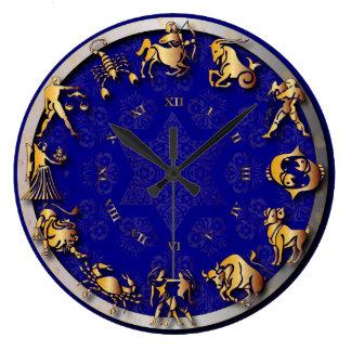 青及び金ゴールドの光輝の(占星術の)十二宮図の時計- #3 ラージ壁時計
