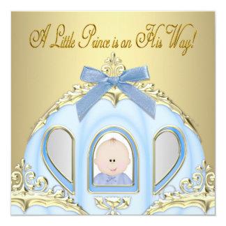 青及び金ゴールドの王子ベビーシャワー招待状 カード