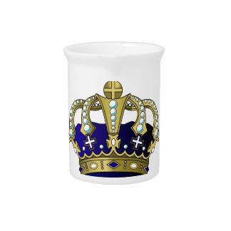青及び金ゴールドの王室のな王冠 ピッチャー